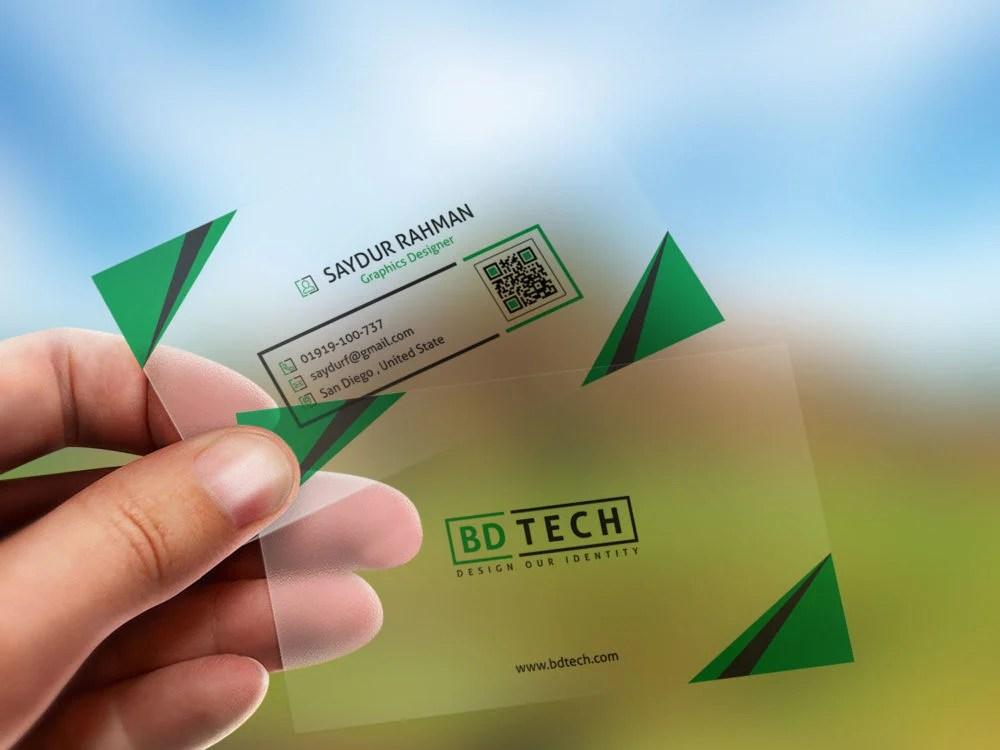 Translucent Plastic business card \u2013 Free PSD Mockup Free Mockup