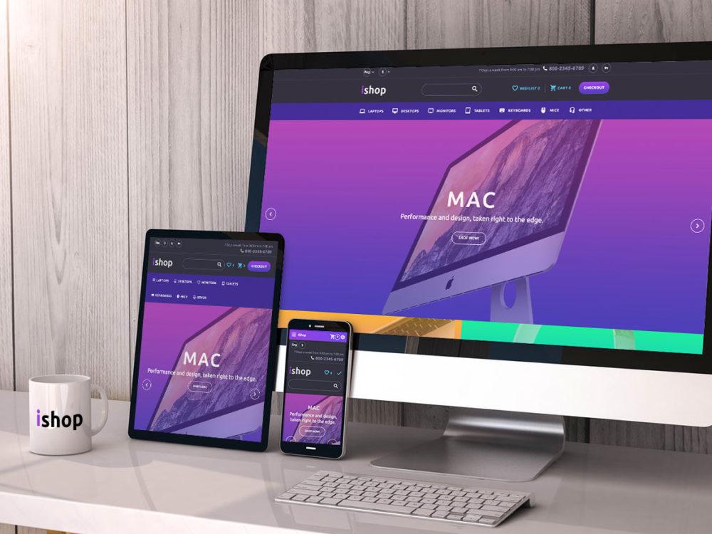 iMac, iPad, iPhone Responsive Website Free Mockup Free Mockup