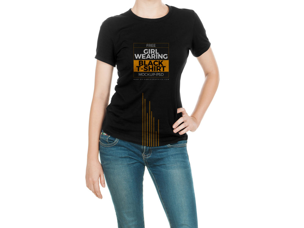 Girl Wearing Black T-Shirt Mock-Up Free Mockup