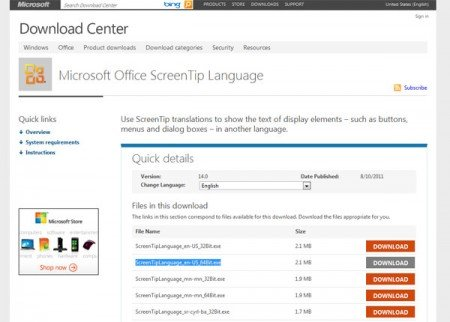 How to change the language in Office 2010 from Spanish to English or
