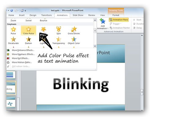 How to blink a text in PowerPoint