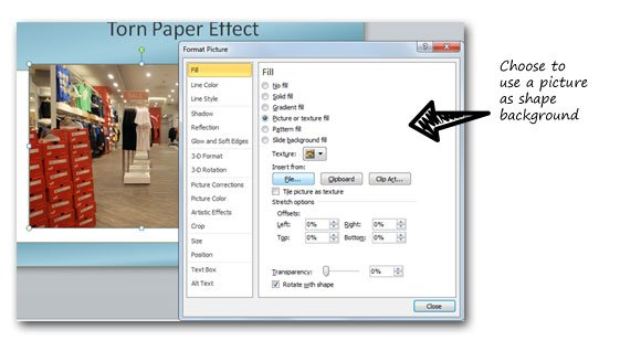 How to create a torn paper effect in PowerPoint 2010
