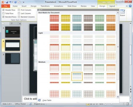 Table design, color and styles in PowerPoint presentation