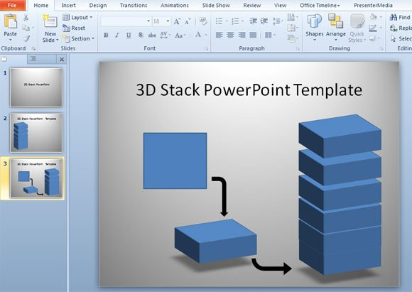 How to make 3D Stack Template in PowerPoint using Shapes - 3d powerpoint template