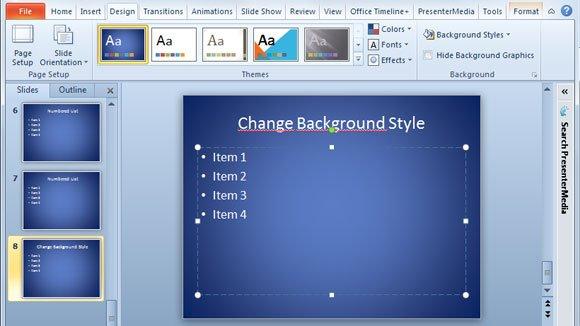 Background Styles Preset in PowerPoint 2010