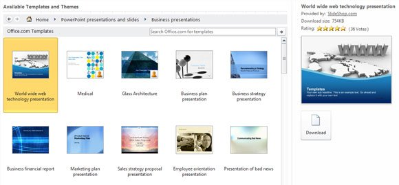 Access hundreds of free PPT templates in MS PowerPoint 2010 - powerpoint 2010 templates