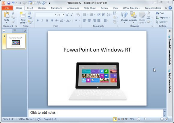 MS Office with PowerPoint for Windows RT
