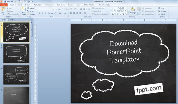 How to Create a Simple PowerPoint Blackboard Presentation - chalkboard writing template