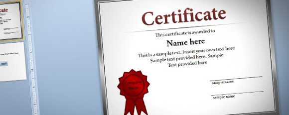Free Certificate Template for PowerPoint 2010  2013 - Award Certificate Template Microsoft Word