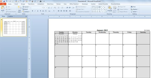 Make Your Free Calendar 2013 Template in PowerPoint - powerpoint calendar template