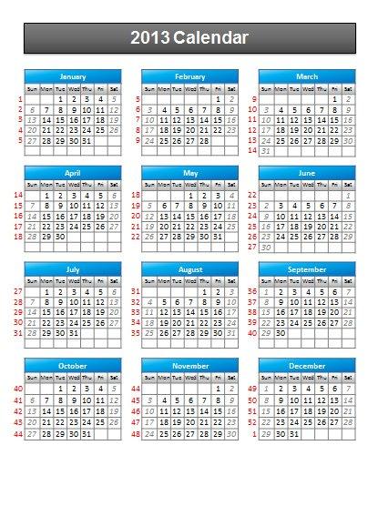 Simple 2013 Calendar PowerPoint Template