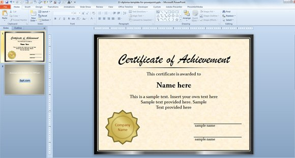 Free Diploma Certificate Template for Microsoft PowerPoint 2010  2013