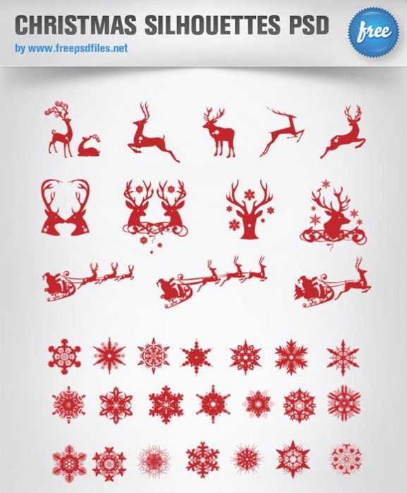 Christmas Silhouette PSD Template for Holiday PowerPoint Presentations