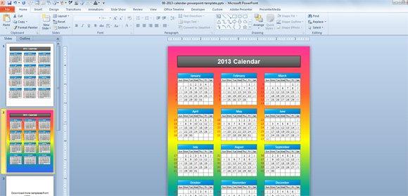 Simple 2013 Calendar PowerPoint Template - powerpoint calendar template