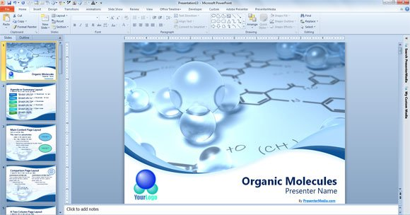 Free Scientific PowerPoint Template - bubbles power point