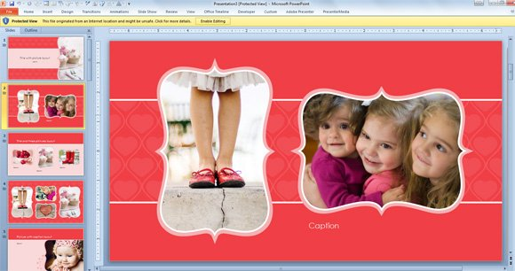 Free Widescreen Valentine\u0027s Day PowerPoint Template - photo album templates free