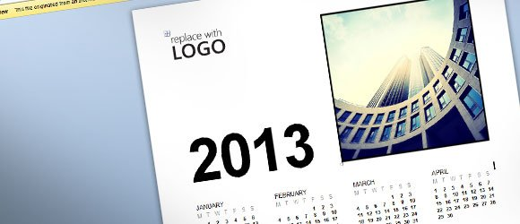 Free Business Calendar 2013 Template for MS Word 2013
