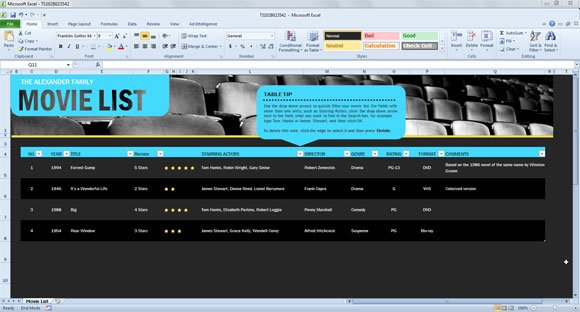 Movie List Spreadsheet Template for Excel 2013