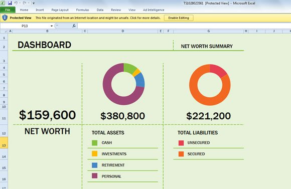 Free Net Worth Spreadsheet Template for Excel 2013 - example of net worth