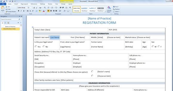 Patient Registration Form Template for Word 2013 - information form template word