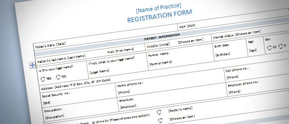 Patient Registration Form Template for Word 2013