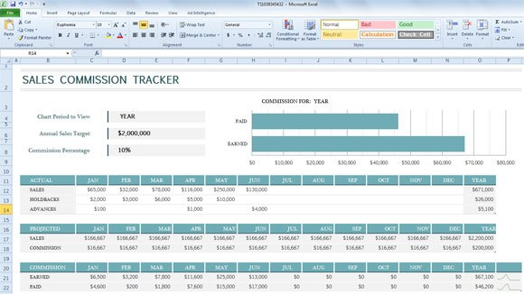 Sales Commission Tracker Template for Excel 2013 - excel po template