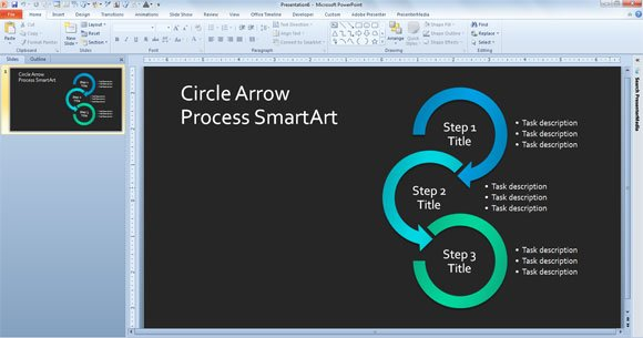 Simple Process Diagram Template in PowerPoint using SmartArt