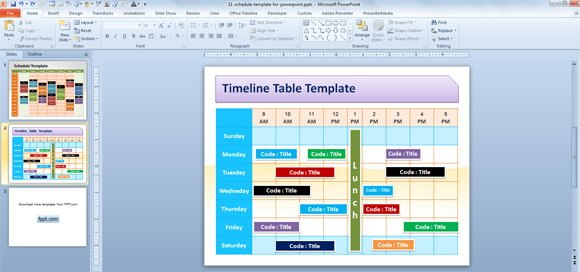 Free Editable Schedule Template for PowerPoint - sample activity calendar template