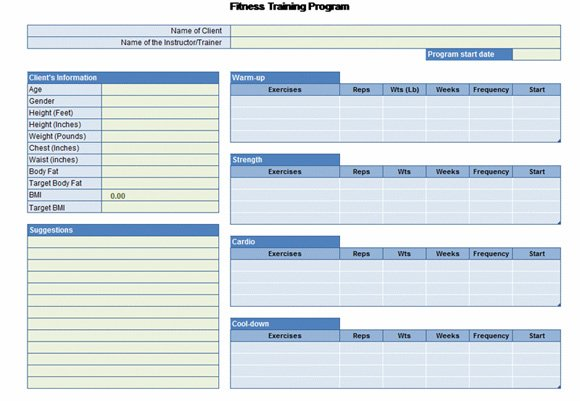 Workout Chart for Excel - Fitness Templates Free