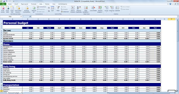 Free Personal Budget Template for Excel - personal budget template