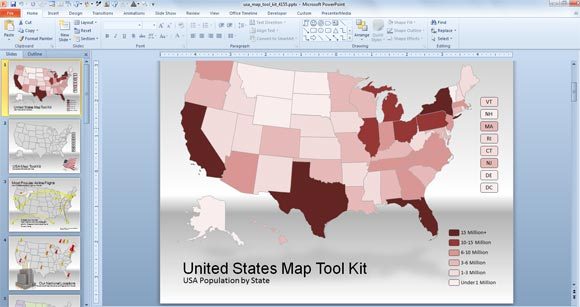 US Map for PowerPoint Presentations - free editable us map