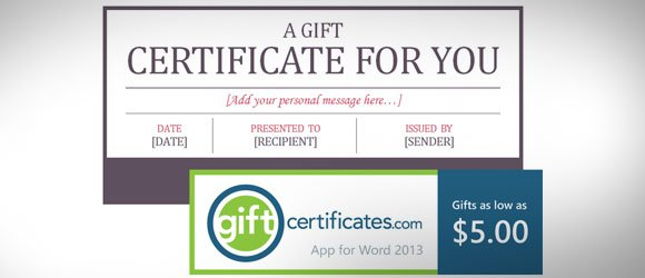 Free Certificate Template for Microsoft Word (Gift Card) - gift card templates