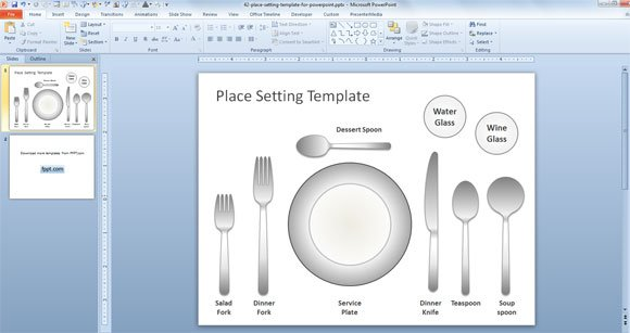 Free Place Setting Template for PowerPoint