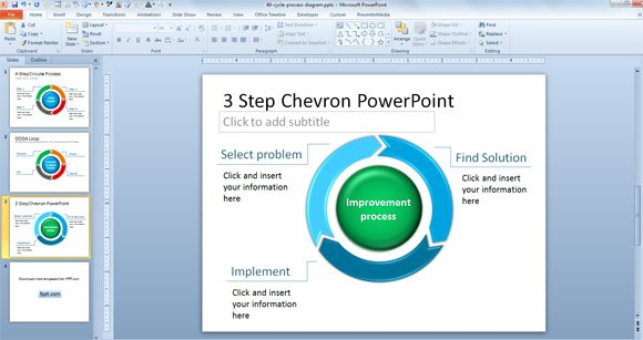 Free 3-Step Chevron PowerPoint Template
