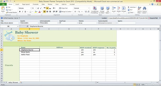 Baby Shower Planner Template for Excel 2013