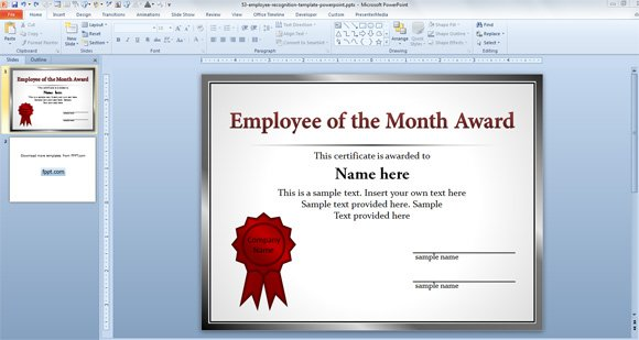 Free Employee of the Month Template for Employee Recognition in - Award Certificate Template Microsoft Word