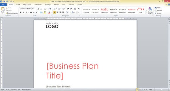 Free Business Plan Template for Word 2013
