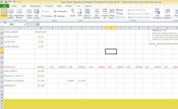 Free Chore Payment Schedule Template for Excel 2013