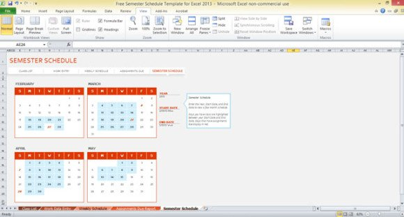 Free Semester Schedule Template for Excel 2013