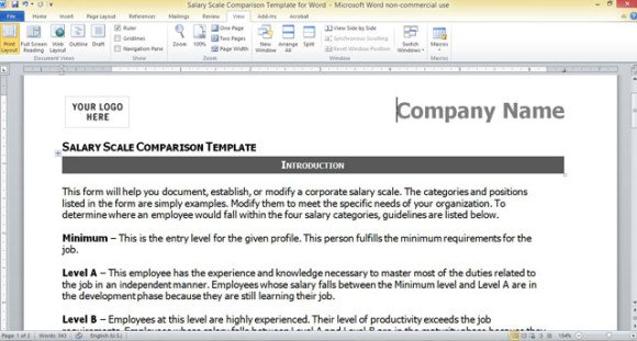 Salary Scale Comparison Template for Word