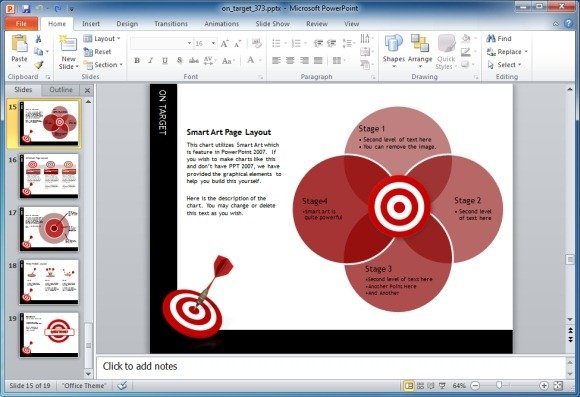 On Target Darts Template For PowerPoint Presentations