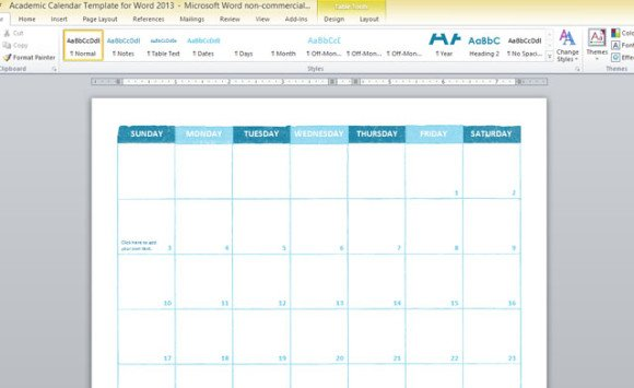 Academic Calendar Template For Word 2013 - agenda word