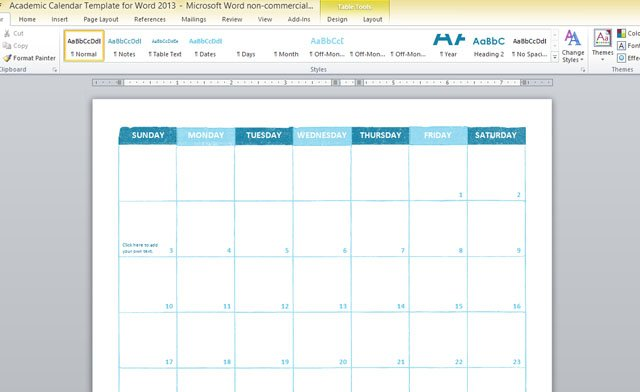 Academic Calendar Template For Word 2013 - Microsoft Calendar Template