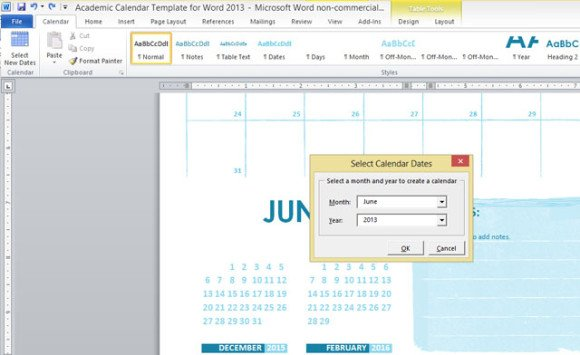 Academic Calendar Template For Word 2013