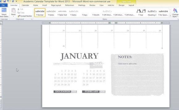 Academic Calendar Template For Word 2013 - academic calendar templates