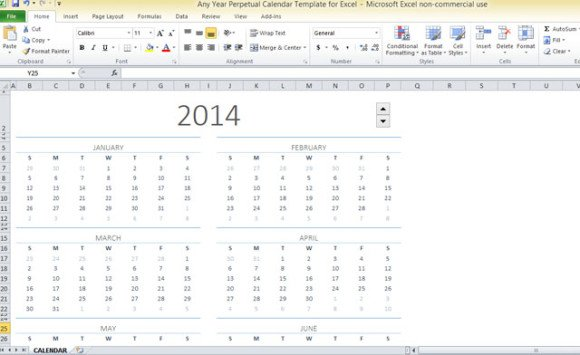 Any Year Perpetual Calendar Template For Excel - perpetual calendar templates