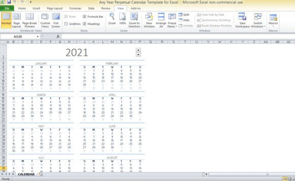 Any Year Perpetual Calendar Template For Excel - perpetual calendar template