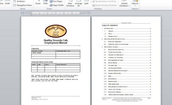 Employment Handbook Template For Word