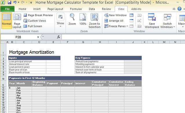 Home Mortgage Calculator Template For Excel - mortgage payment calculator template