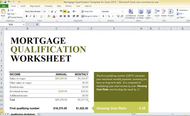 Mortgage Qualification Template For Excel 2013